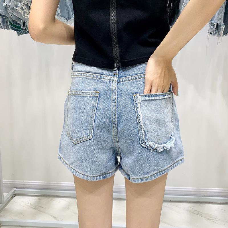 pantalones cortos de mezclilla de moda para mujer alta cintura de la manera nueva manera del color del contraste inverso bolsillo personalizado coreana Allaround netred