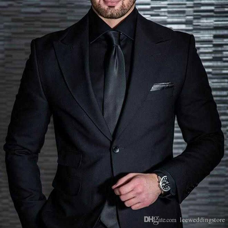 Siyah Erkekler Custom Made Peaked Yaka Düğün Adam Için Suits Slim Fit Örgün Akşam Parti Damat Balo Smokin Blazer Ceket + Pantolon Giymek