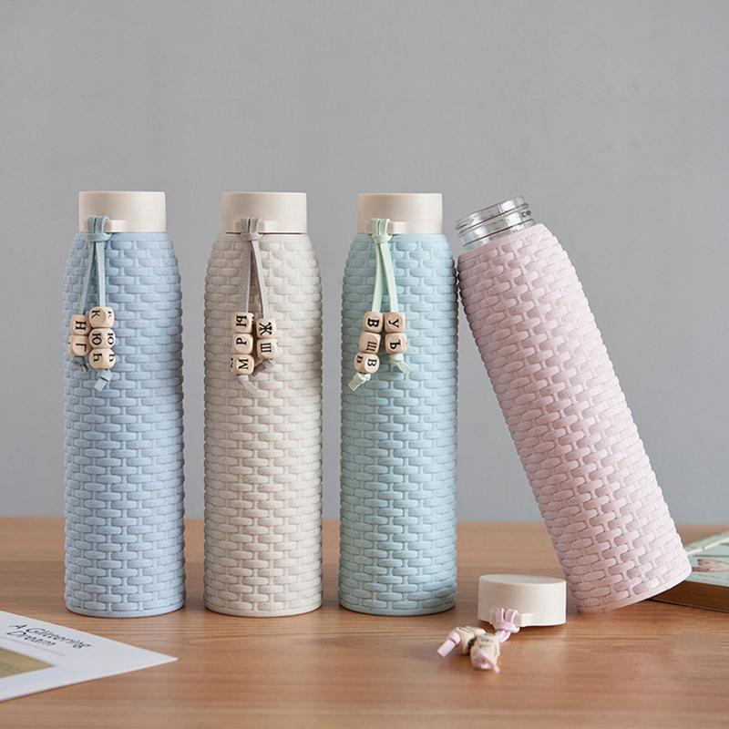 310 ml nouvelle paille de blé boîtier en plastique innovant verre imitation rotin littéraire cadeau coupe - Style coréen Fresh Girl bouteille d'eau