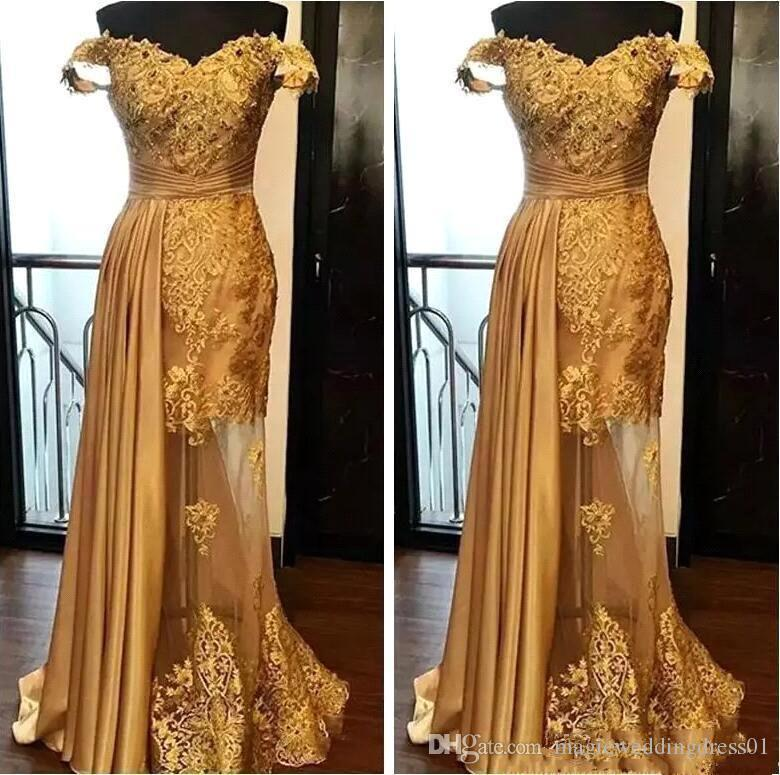 2019 Off The Shoulder Long Evening Dresses Arabic Golden Tulle Applique Ruched Beaded Floor Length Pageant Formal Party Pageant Prom Gowns