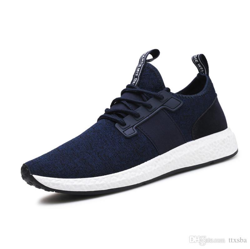 Chaussures de conseil en tricot ligne de vol occasionnel de bas prix 2020 hommes trend sports bande élastique respirant antidérapante résistant à l'usure chaussures hommes sauvages