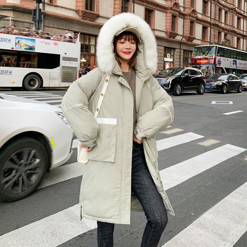 2019 Açık Yeşil Moda Kadınlar Kış Ceket Pamuk Yastıklı Sıcak Kalınlaşmak Büyük Kürk Yaka Bayan Uzun Coats Parka Kadın Ceketler