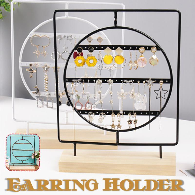 Wood Metal Jewelry Spin Holder Earrings Necklace Ring Pendant Bracelet Jewelry Display Stand Tray Tree Storage Racks Holder