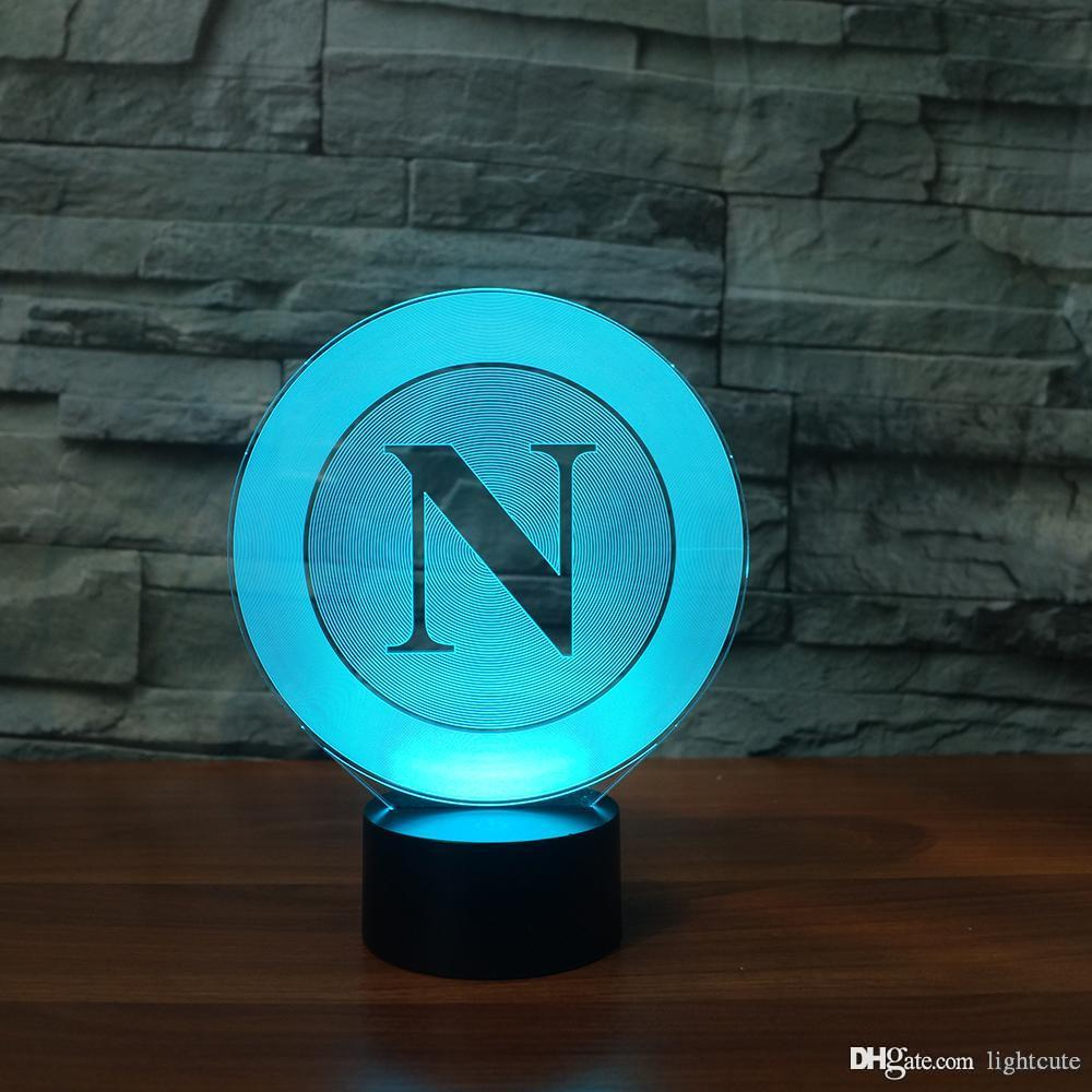 Слово N 3D Illusion Night Light, сенсорный 7 Изменение цвета, Home Decor Baby Girl Boy светодиодные лампы Chlid Дети подарок Рождественский подарок Xmas