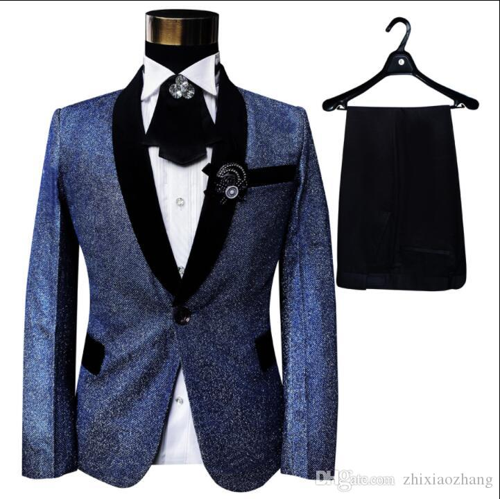 Singer stage slim clothing for men suit set with pants mens wedding suits groom formal dress blue fashion College style European