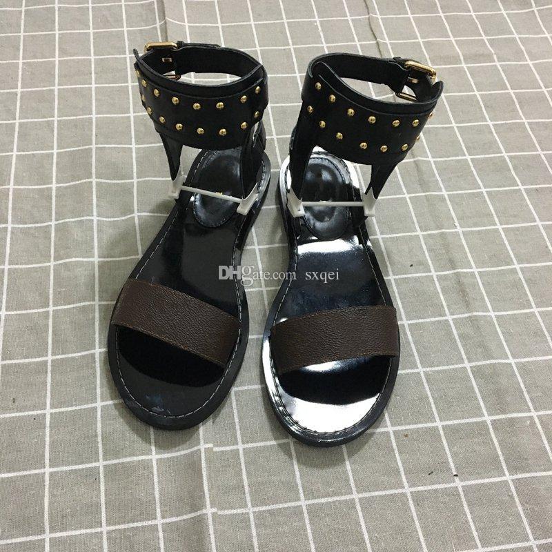 Clássico das Mulheres Novas Fivela Dupla Sandálias de Moda de Luxo Designer de Mulheres Sapatos de Salto Liso Sandálias Tamanho 35--41