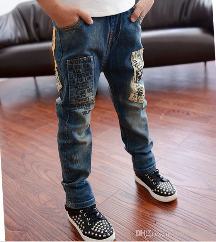 Jeans dei bambini di modo di alta qualità per i ragazzi, jeans dei bambini coreani adatti sottili, jeans dei bambini dei bambini, i jeans del ragazzo dei bambini Trasporto libero