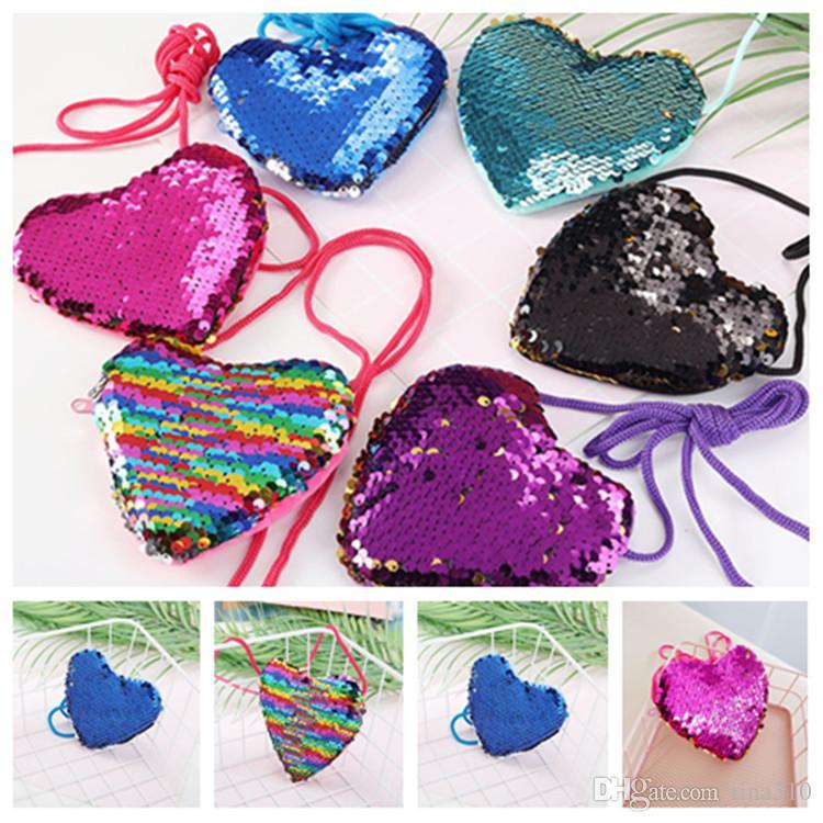 심장 모양의 지갑을 끈 반짝이는 메신저 부대에는 어린이 작은 지갑 휴대용 제한 지갑 디자이너 몸 bagT2D5038