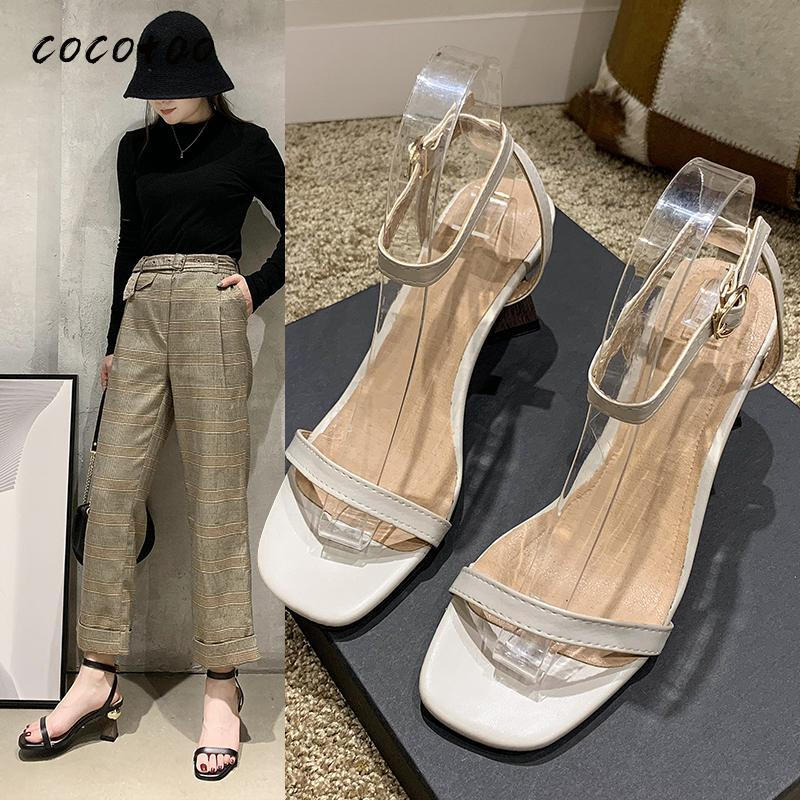Sandals Female 2020 New Spring And Summer Paint Nude Color Word Buckle Square Head Open Toe Thick Heel Shoes Fairy Style