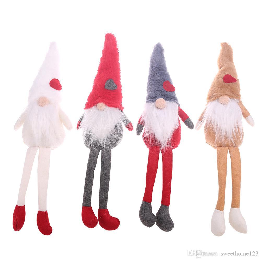 Christmas Faceless Beard Long Leg Santa Sitting Doll with Stripes Hat Home Decor