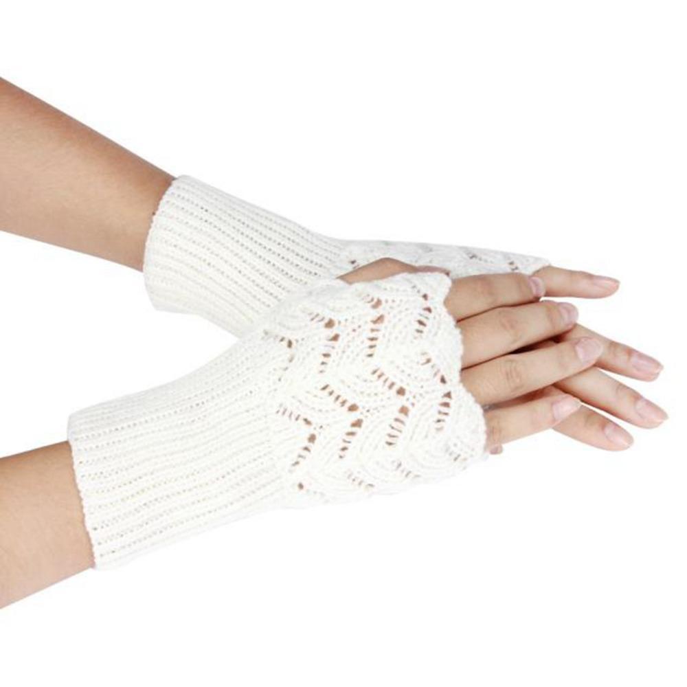 Toptan-Satan eldiven kadın sıcak kış yün Örme Yarım Parmaksız Eldiven şeker renk Guantes mujer luvas de inverno eldiven # 48