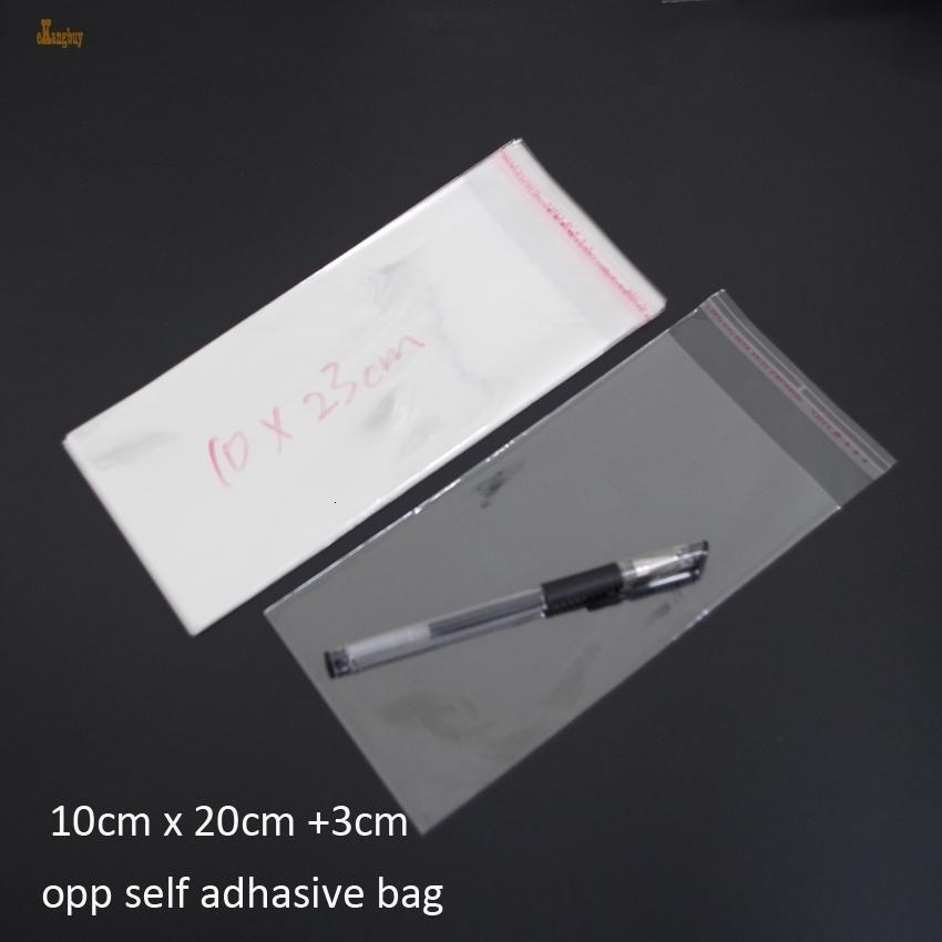 300pcs chiaro risigillabile Bopp / poly / sacchetto di cellophane 10x23cm 9x24cm trasparenti sacchetti di OPP regalo Imballaggio di plastica autoadesivo della guarnizione