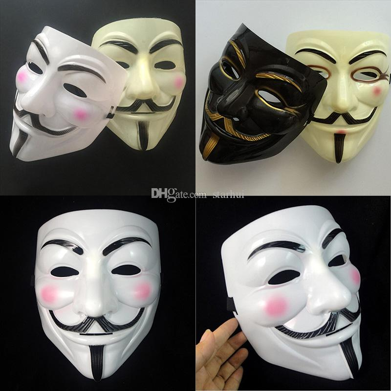 Máscara V Máscaras de disfraces para Vendetta Anónimo Decoración de fiesta de San Valentín Ball Cara completa Halloween Scary Cosplay Party Mask Free DHL WX9-391