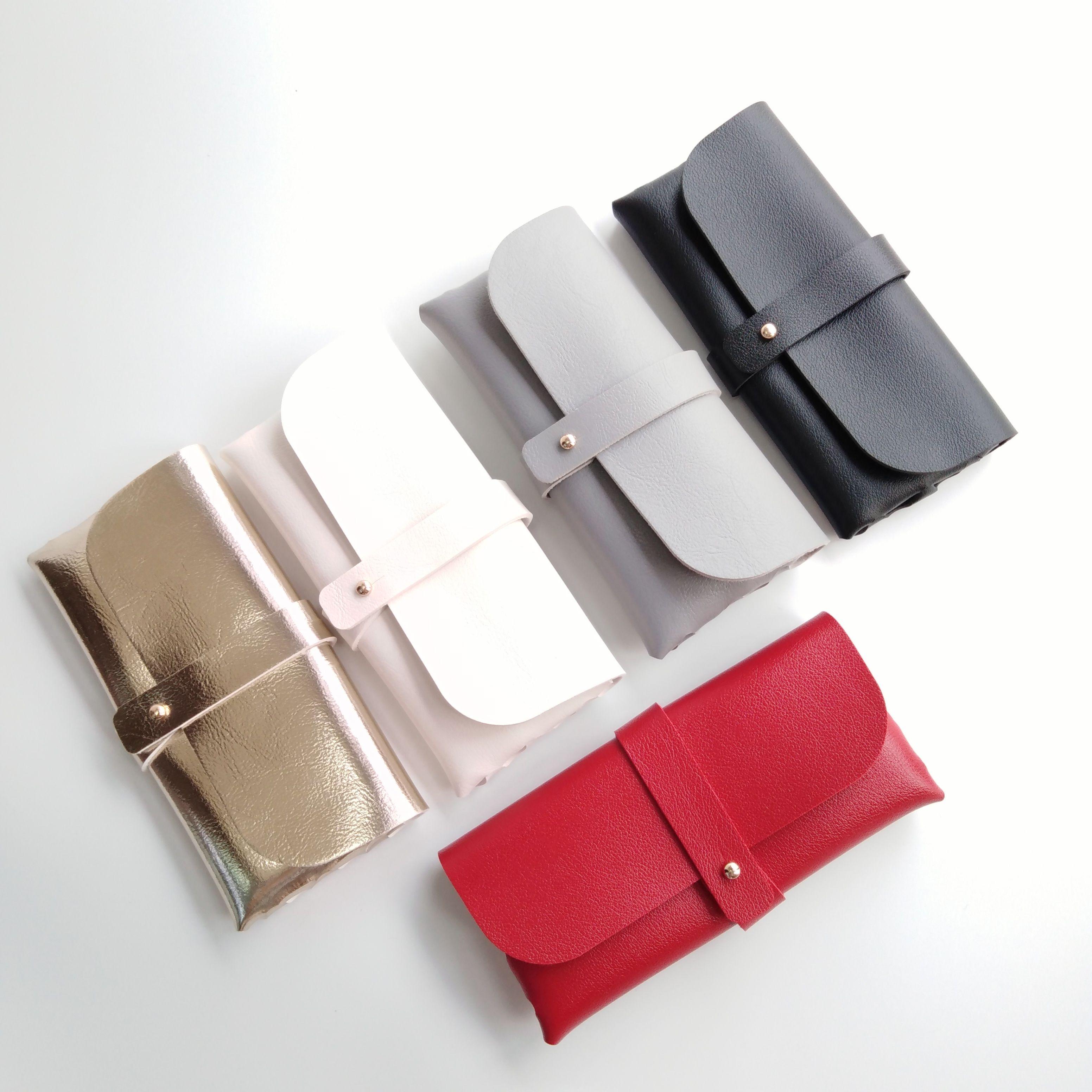 100% artesanal de couro PU oversize sunglass bolsa macia com veludo forro slip-in case caixa caso espetáculo