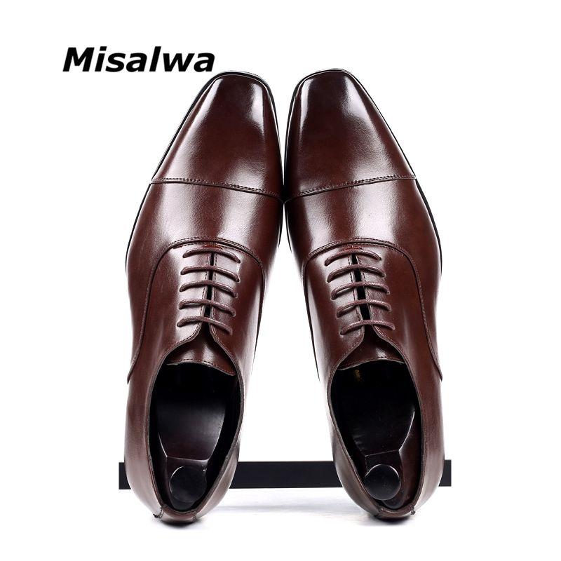 Misalwa Cap-toe vestito degli uomini classico scarpe punta golf in pelle Derby PU grande formato 38-46 3.5CM tacco elegante vestito di affari Oxfords formali