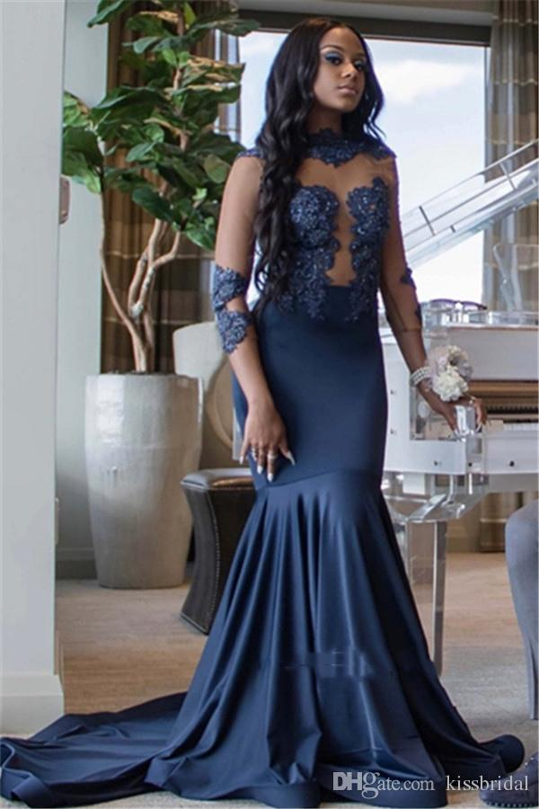 Prom vestidos pretos Meninas 2019 Navy Blue Mermaid Neck-alta manga comprida vestidos de noite formais Sheer Cocktail Lace Bola do partido do doce 16 Vestido
