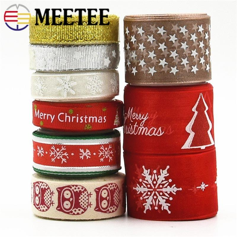 Meetee 10/15/25mm 9 Style Christmas Gift Wrapping Ribbon Webbing Handmade gift box packaging DIY Decorative Accessories Ribbons AP510