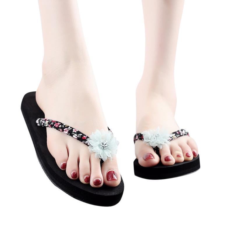 Pantofole Donne Open Toe antiscivolo pantofole Beach Walk scarpe estive casual Boemia Sandali floreale della piattaforma del tallone all'ingrosso