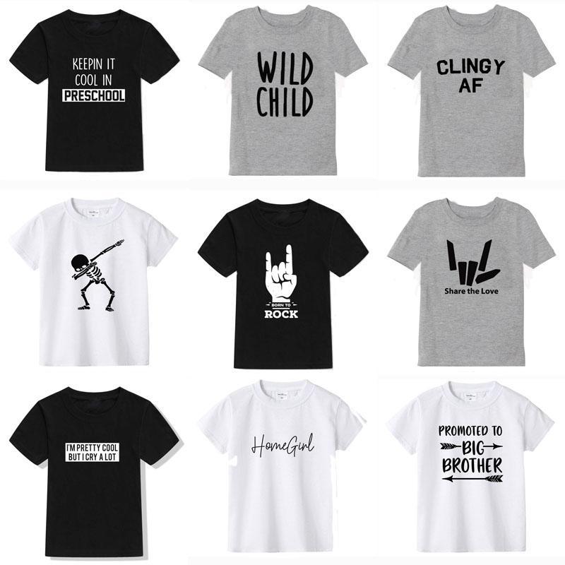 2020 Новое лето мальчиков Футболка Мода Печать Детская футболка для мальчика хлопка с коротким рукавом Девочки майка детской одежды