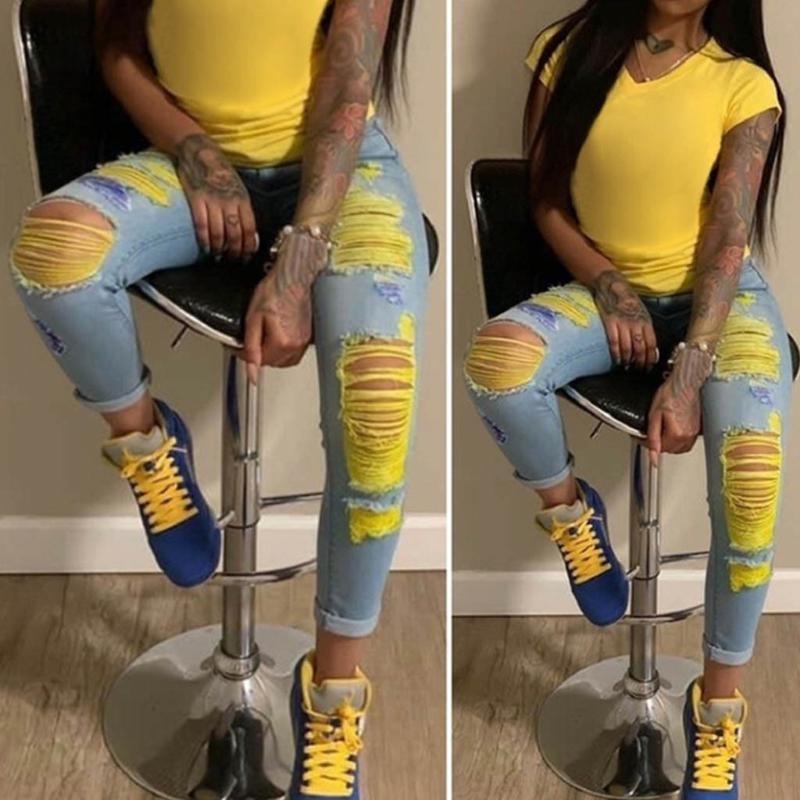 Sexy Women Jeans высокой талией джинсы женщина Высокая Упругие Плюс Размер Женщины Femme Свет Омывается Повседневный Тощий карандаш брюки # J30