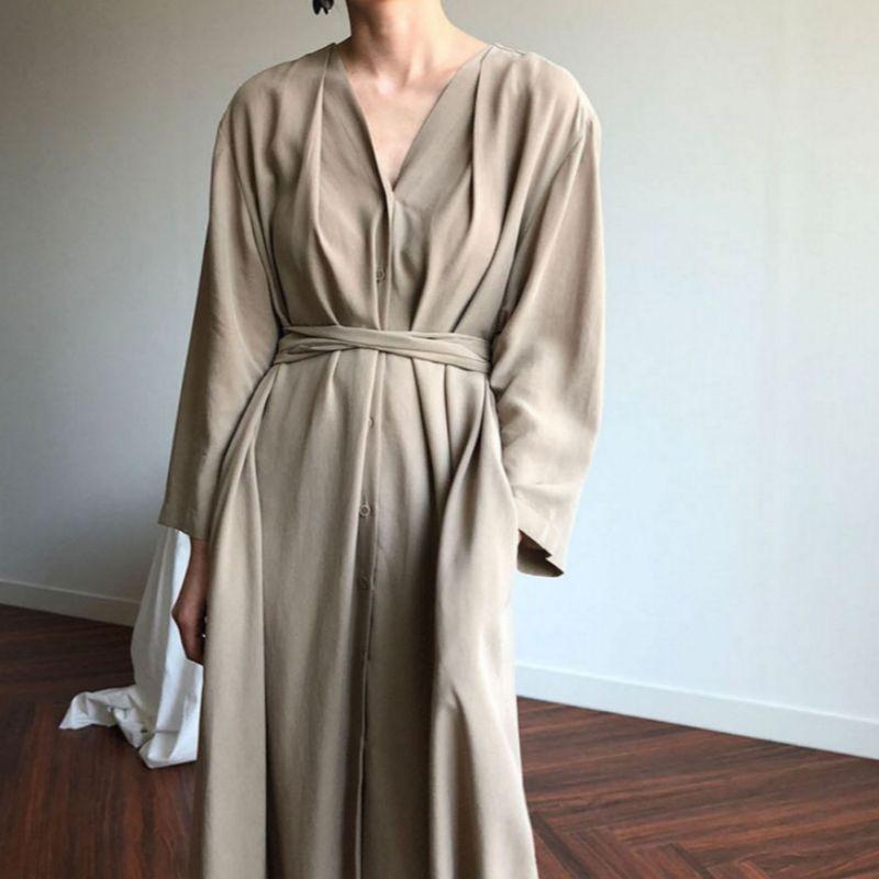 Übergroße Frauen-Weinlese-Frühlings-Herbst-Chiffon- lange Hemd-Kleid Sexy V-Ausschnitt Schärpen volle Hülse Maxikleider Kurzen Solid Color