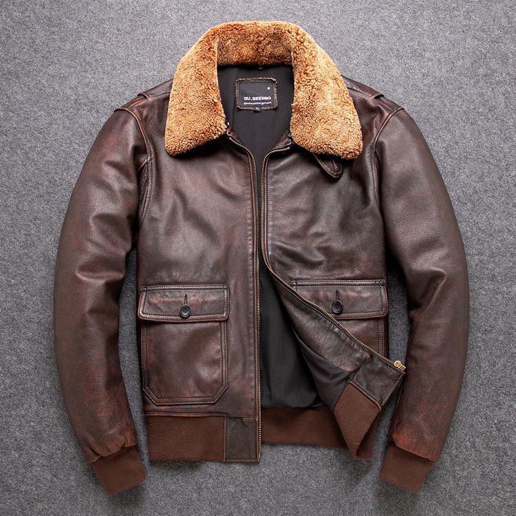 Ücretsiz shipping.Classic G1 bombardıman, açık sığır derisi ceket, klasik deri ceket, mens adam hakiki deri jacket.Brown paltoları