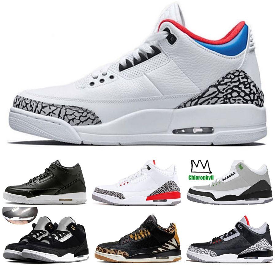 Jumpman 3 Eminem Encore Saf Para Beyaz Çimento Royalty Bred Toro Bravo Thunder Yeşil Glow Ayakkabı 3S Erkek Basketbol Sneakers # 945