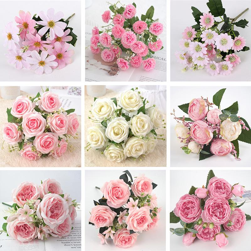 Artificial decoration pink peony rose bouquet | Silk peony bouquet, beautiful bouquet, fake flower for family wedding deco