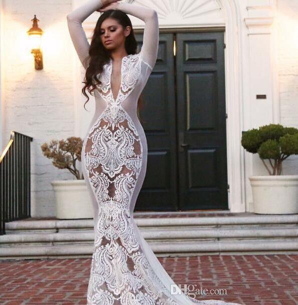 2020 Yousef aljasmi Beyaz Arapça Gelinler Gelinlik Uzun kollu V-Boyun Aplike Mermaid Beyaz kim kardashian Gelinlik
