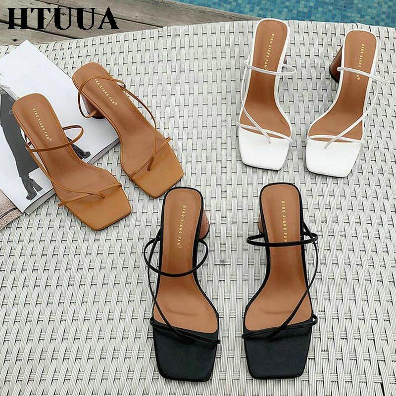 HTUUA 2019 nuevos zapatos de las mujeres zapatillas de verano Mujer Chunky talón punta abierta sandalias de las señoras Tacones altos Diapositivas flip flops Fuera SX2945
