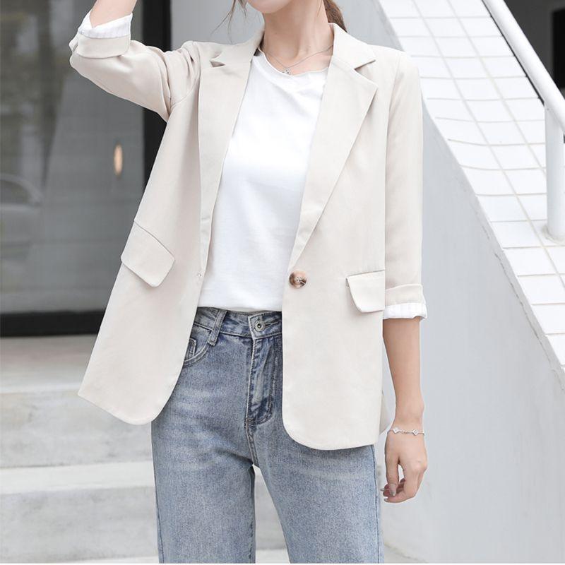 Single Button Casual Solid Blazer Coats Office Elegant Ladies Blazer Female Long sleeve Pocket Design Spring Autumn Coats 2020