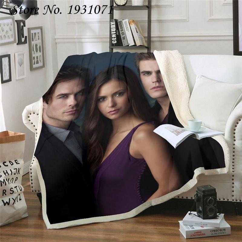 NUOVO Vampire Diaries personaggio buffo Coperta 3D Stampa Sherpa coperta sul letto Tessile per la casa da sogno di stile 02