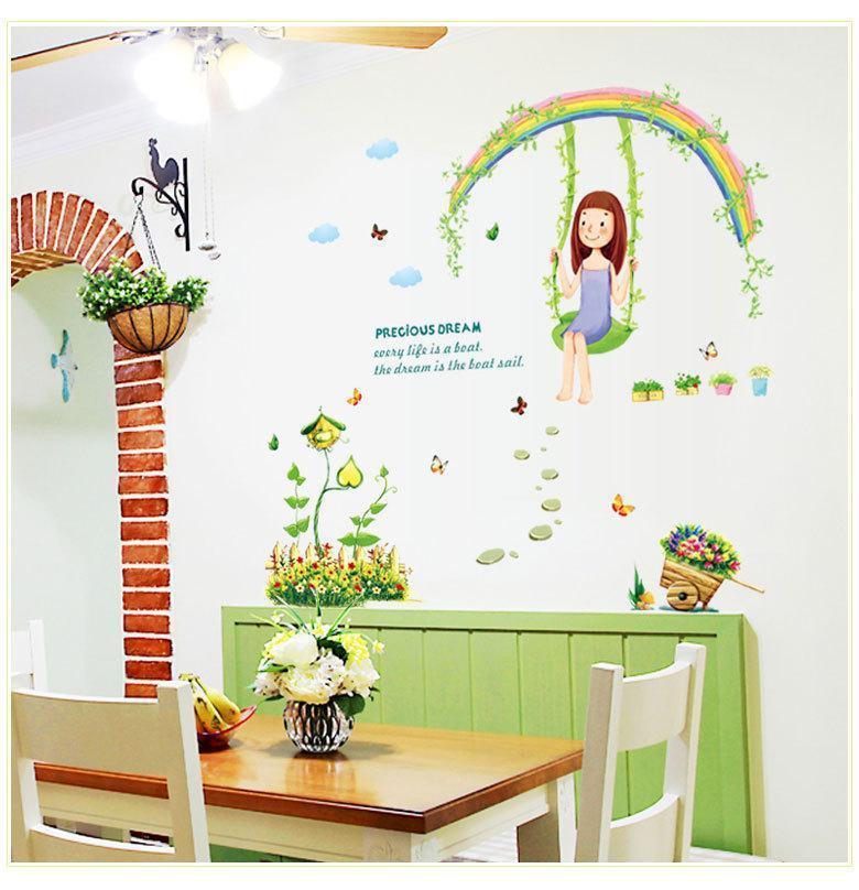 7264 DIY Karikatur-Swing-Mädchen DIY-Wand-Aufkleber Aufkleber Regenbogen-Blumen-Abziehbilder für Kind-Raum-Kind-Baby Nursery Zimmer
