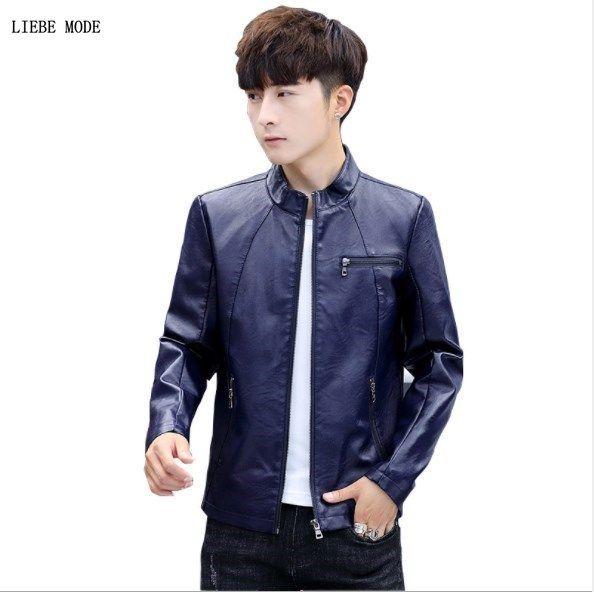 6bc9b6c20 2019 Mens Slim Fit Leather Bomber Jacket Men Black Blue Burgundy Faux  Leather Moto Biker Jacket Men Casual Pu Outerwear Coat Zipper From Jingju,  $53.8 ...