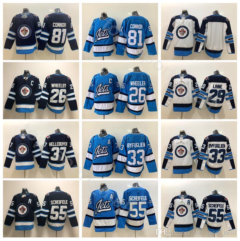 2019 Jets Winnipeg Ice Hockey 81 Kyle Connor Jersey Hommes Blue Blanc 33 Dustin Byfuglien 26 Blake Wheeler 55 Mark Scheifele 29 Laine
