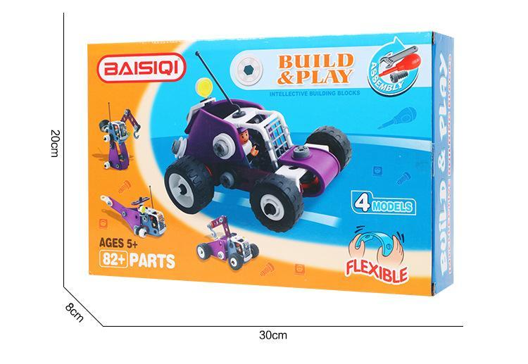 детская головоломка 4 в 1 мягкий пластик diy собранные строительные блоки гайка инженерный автомобиль творческие игрушки