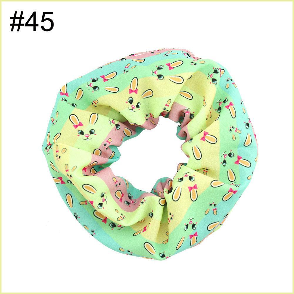 free shipping 12pcs NO1-No57 5.5'' big inspired hair scrunchies girl elastic hairbands Women Printed Scrunchie butterfly unicorn