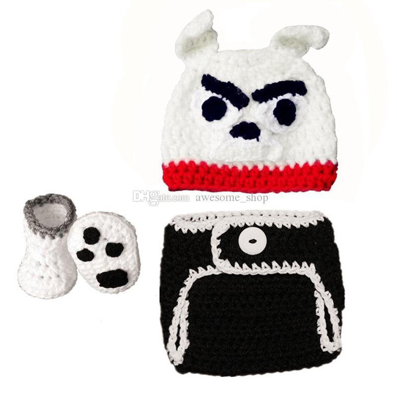 Costume de bouledogue infantile mignon, chapeau tricoté à la main de bébé garçon fille Bulldog Crochet tricoté à la main, couverture de couche-culotte et ensemble de bottines, accessoire de photo nouveau-né