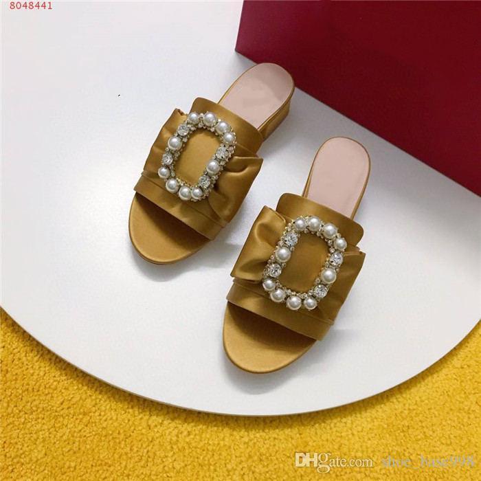 Klassische Dame Seidenstoff starke Ferse Sandale Perlwasser Diamantquadrat mittlere Ferse Pantoffeln Ferse-Höhe 3,5 cm mit Originalverpackung Schnalle