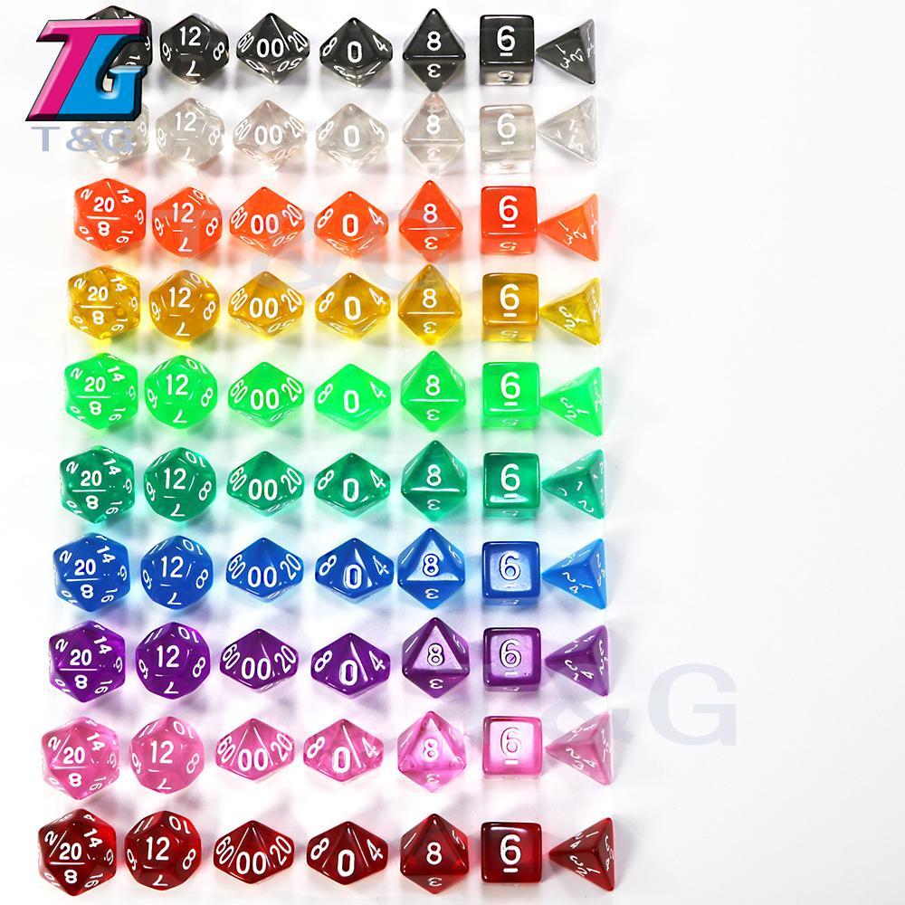 Wholesales 7pc / серия Прозрачный Кристалл Dice Set D4,6,8,10,10%, 12,20 для настольной игры Rpg дд