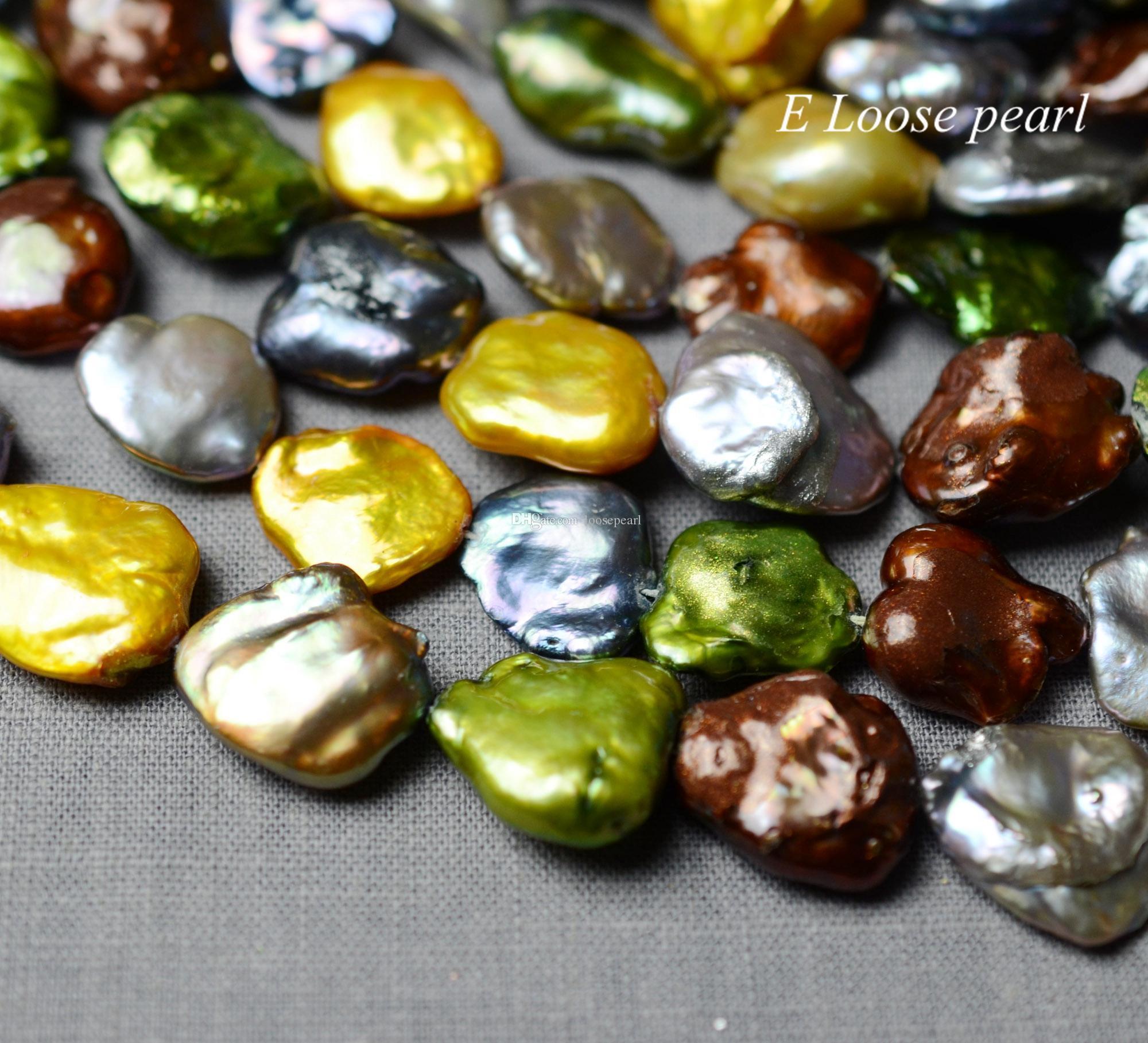 Biwa perle 15-17mm Grande perle d'eau douce boucle d'oreille de perles trou gros perle perles en vrac collier pleine Keshi Strand PL4474