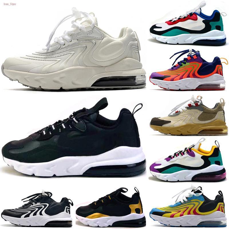 Nike Air Max 270 React Venta caliente Reaccionar niños de los zapatos corrientes de Palm Media Formación Aircushioned Zapatos reaccionan Niño Niña banda elástica de las zapatillas