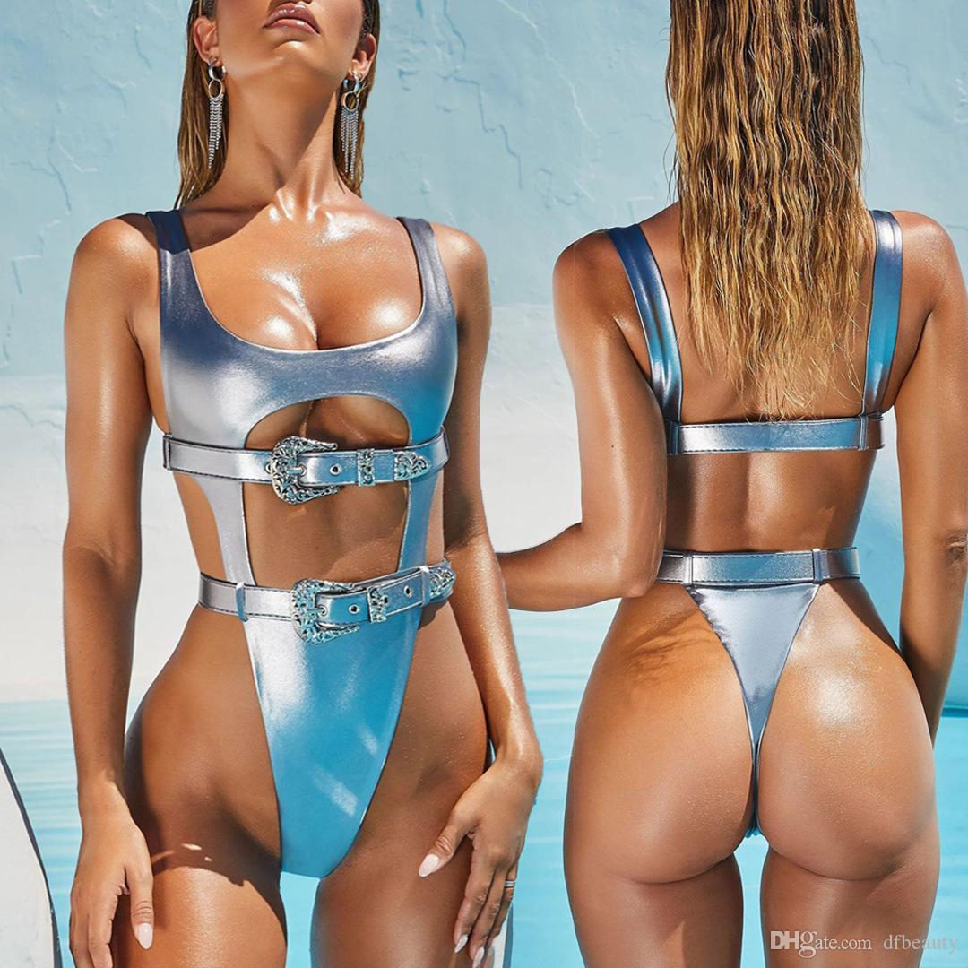 Real Fotos Sexy maiô cintura alta Belt uma peça biquínis maiô acolchoado brasileira biquíni ouro, prata monokini Beach Wear Biquini