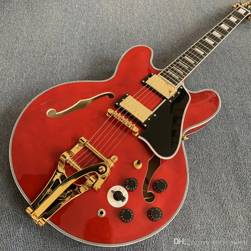 Custom 335 red Semi Hollow Jazz Electric Guitar Tremolo system gold Black Pickguard Rosewood Fingerboard 190308