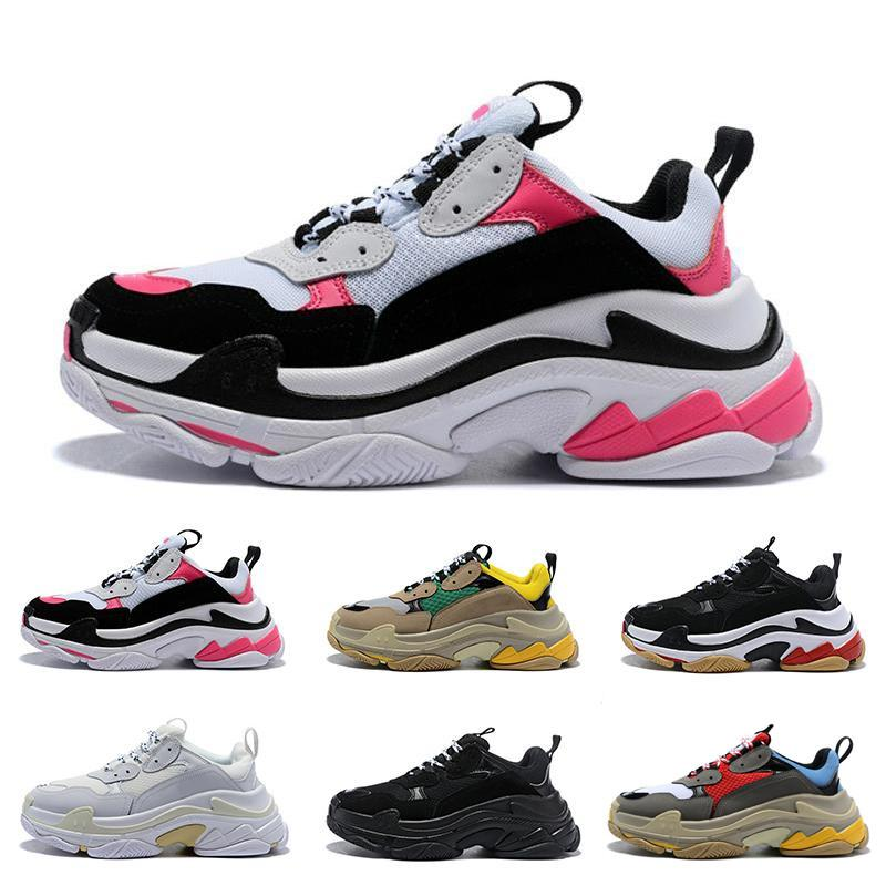 2019 designer Paris 17FW Triple s Sneakers da uomo donna nero rosso bianco verde Casual Dad Shoes tennis lusso crescente sneakers 36-45