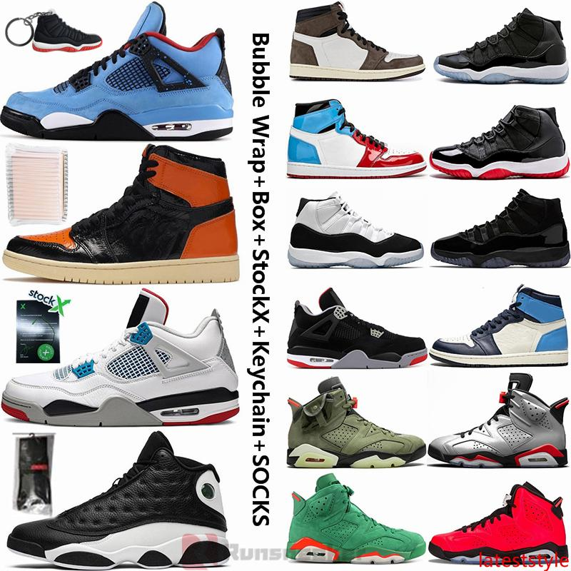 Jumpman Basketball Sneakers 4 Cactus Jack 4s Que Os 11 11s Bred Concord 6 Travis scotts 1 1s destemido Obsidian 14 Mens tênis de basquete