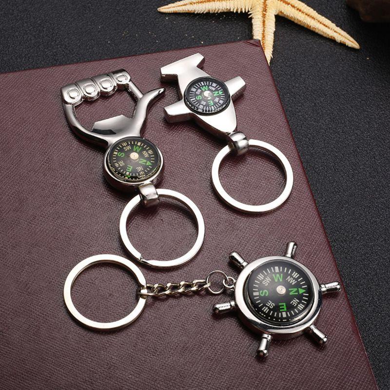 Outdoor portátil Leme Compass Opener Keychain Ferramenta Cada Dia Carry chaveiro para caminhadas Chaveiro encanto do saco Acessórios presente