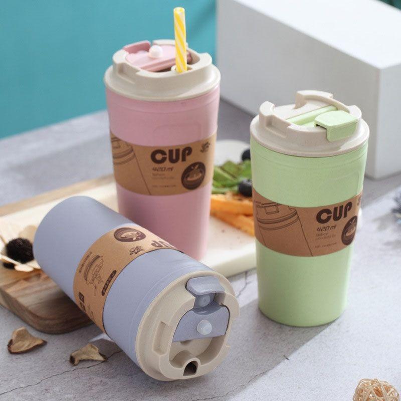 Travel Coffee Mug Eco-Friendly Bamboo Fiber Coffee Cup Silicone Ring Lid Christmas Gift Mugs 420Ml Other Dinnerware