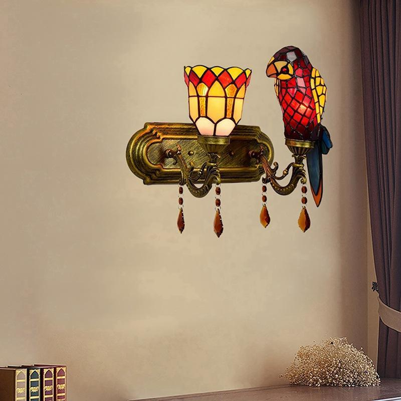 European style Tiffany wall lamp parrot bedroom bedside night light stained glass decorative lamp rural corridor double head crystal la
