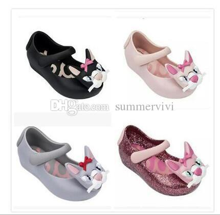 Melissa jelly sequins sandals designer kids stereo Bows cat single shoes girls non-slip jelly shoes children cartoon casual sandals F4316